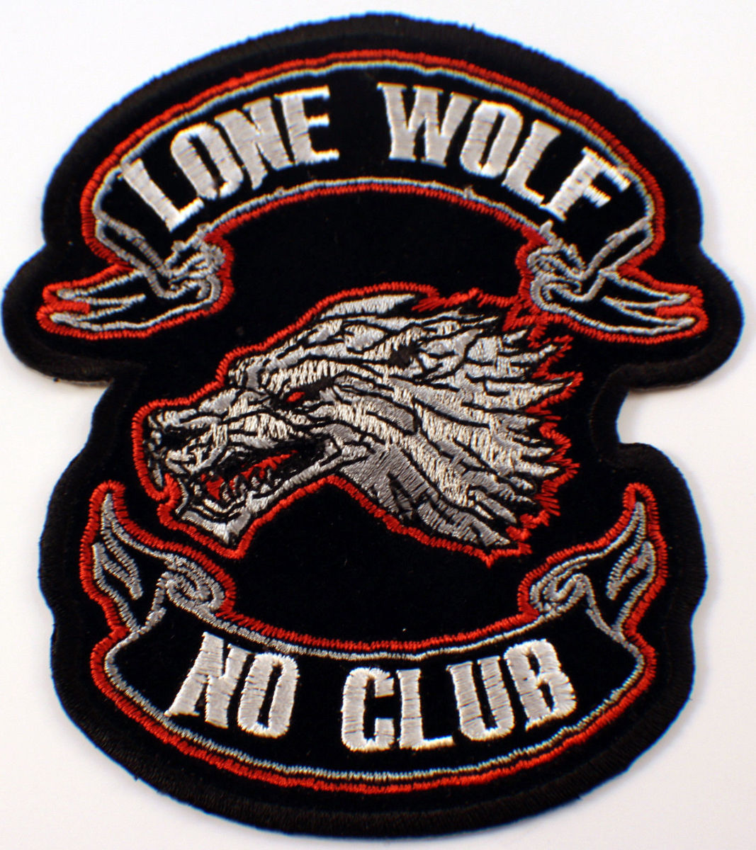 Lone Wolf No Club Bike 6 X 7 Motorcycle Uniform Patch Biker