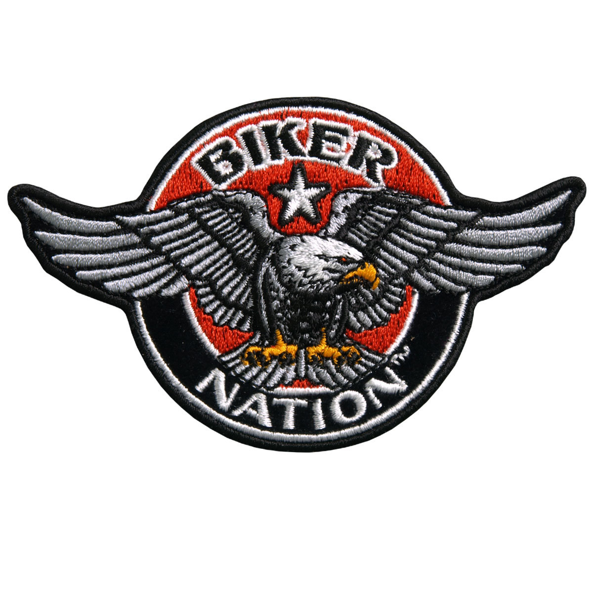 "Motorcycle Biker Uniform Patch 4/"" X 3/"" Biker Nation Eagle In Red"
