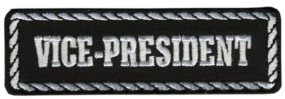 Black & White Vice-President Rider Motorcycle Uniform Patch Biker