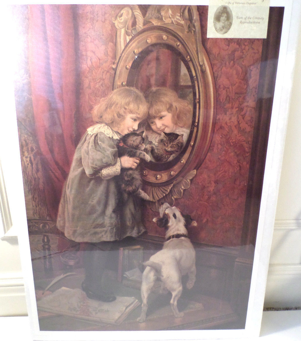 """Victorian Lithograph Print Picture """"Reflections"""" Girl With Cat And Dog 16X23"""