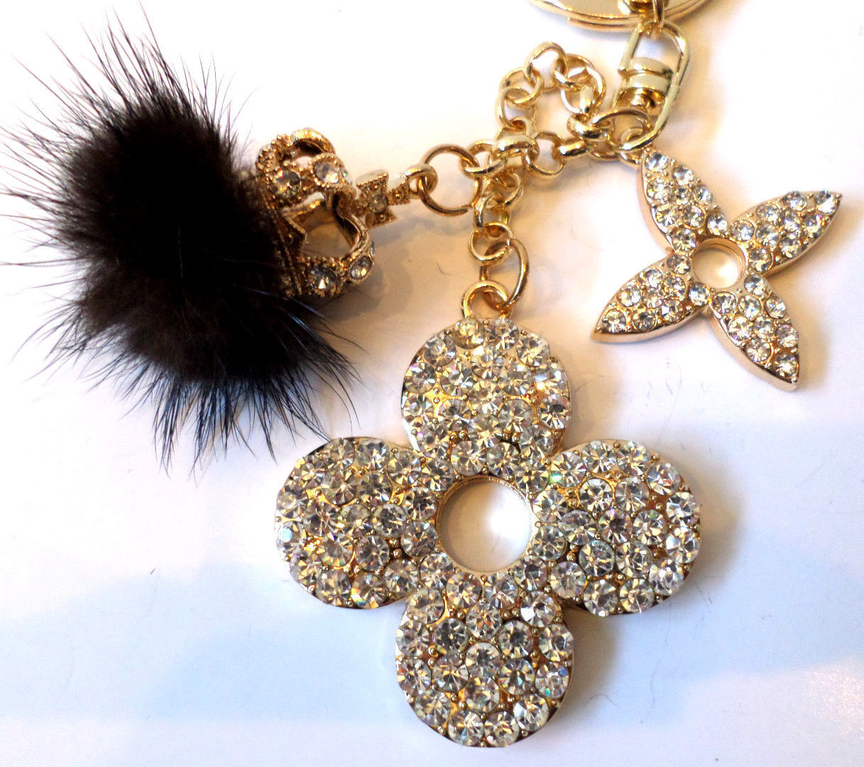Rhinestone Bling Cute Key Chain Fob Phone Purse Charm Flower Crown