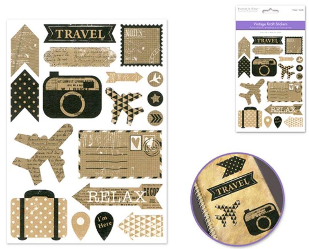 Kraft Sticker Scrapbooking Vintag Style Vacation Travel Luggage