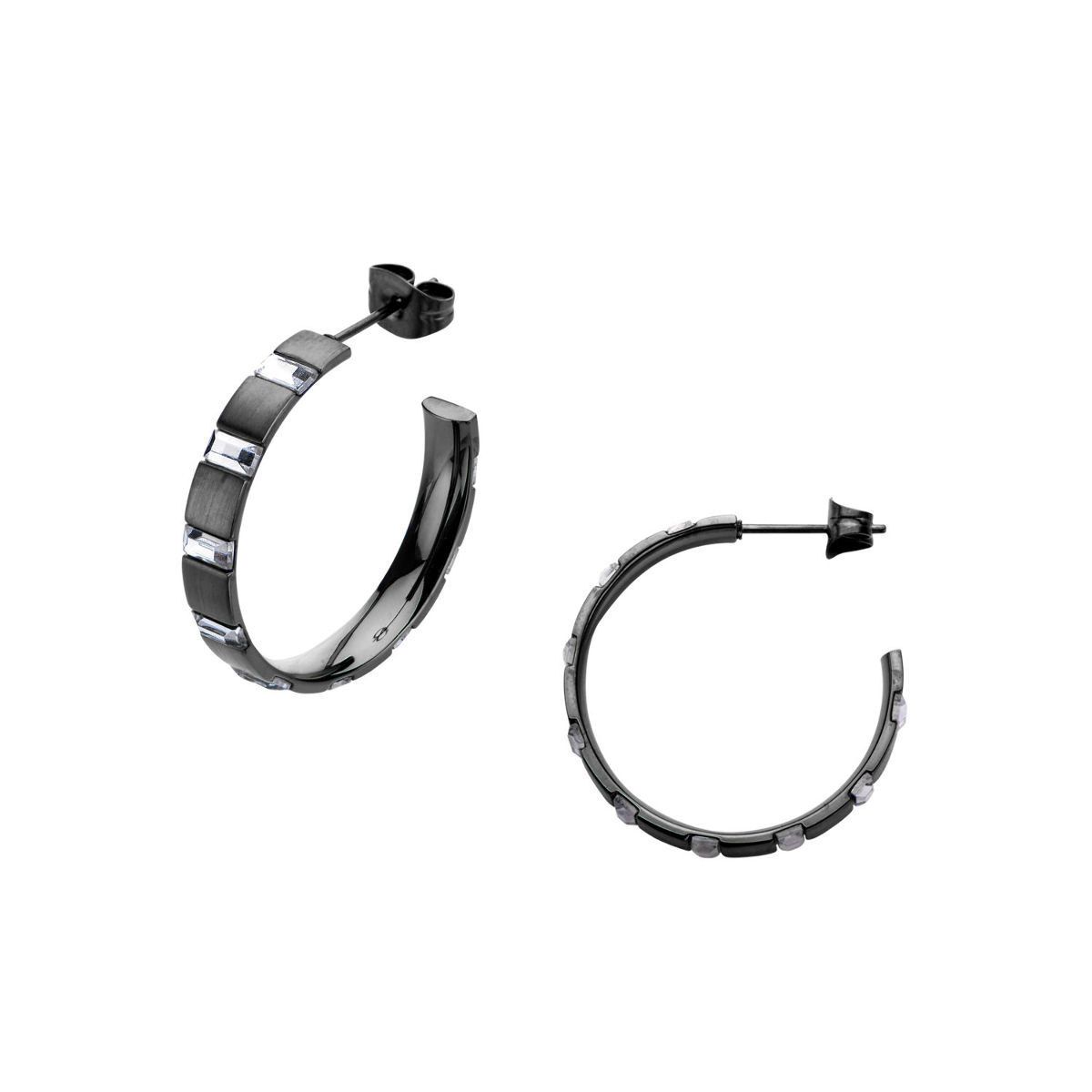 Inox Jewelry Stainless Steel Crystal And Black Ip Hoop Earring