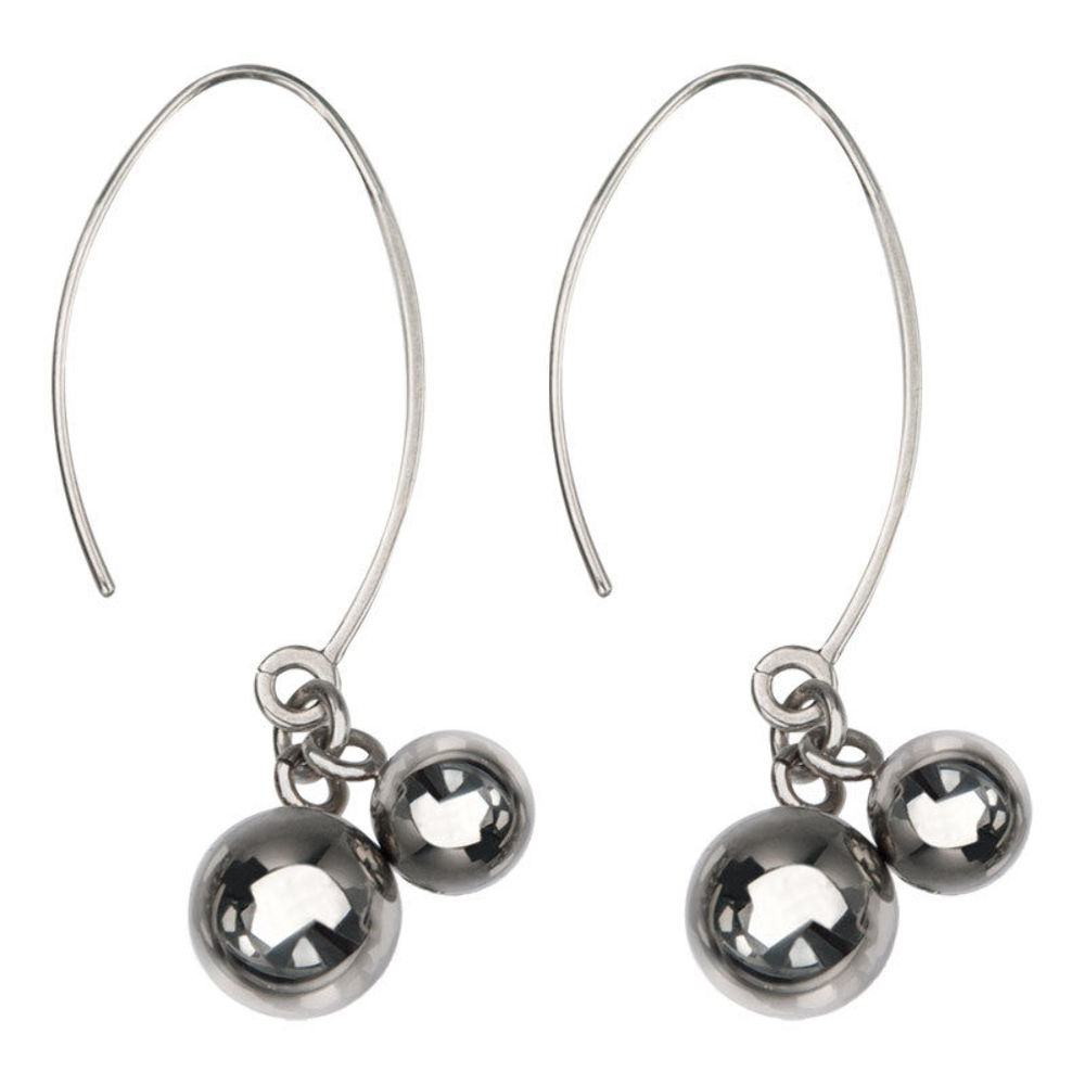 Women'S Inox Jewelry Stainless Steel Dangle Spheres Edgy Earrings
