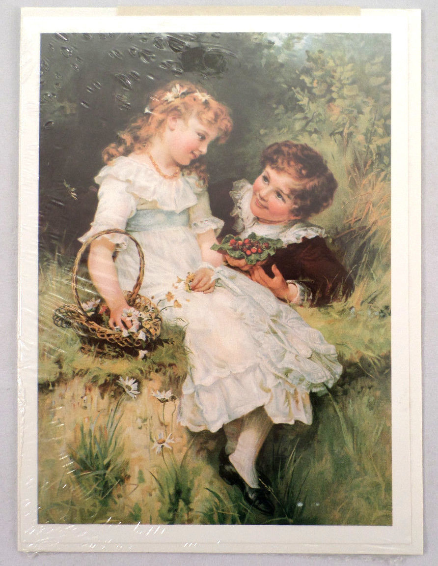 """Victorian Lithograph Print Picture """"Sweethearts"""" Children Kids In Love 5"""" X 7"""""""
