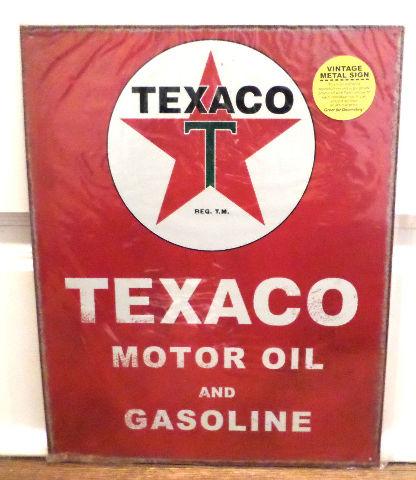 Vintage Replica Tin Metal Sign Fire Chief Fuel Motor Oil Texaco Gasoline