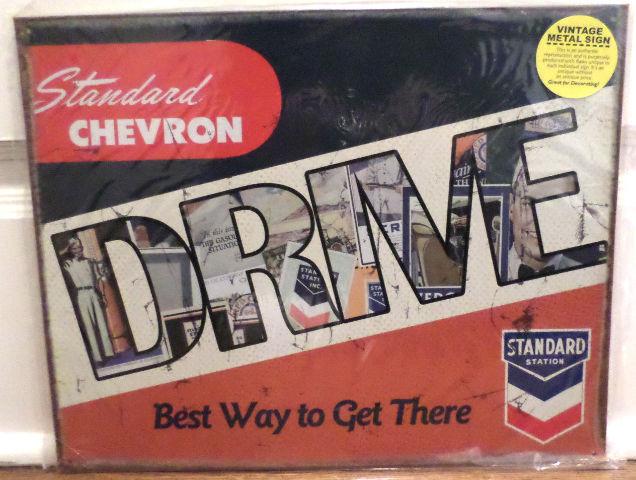 Vintage Replica Tin Metal Sign Standard Chevron station gas drive service 10076