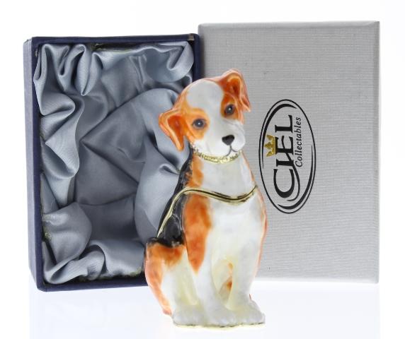jeweled beagle puppy dog ciel collectible hinged trinket box