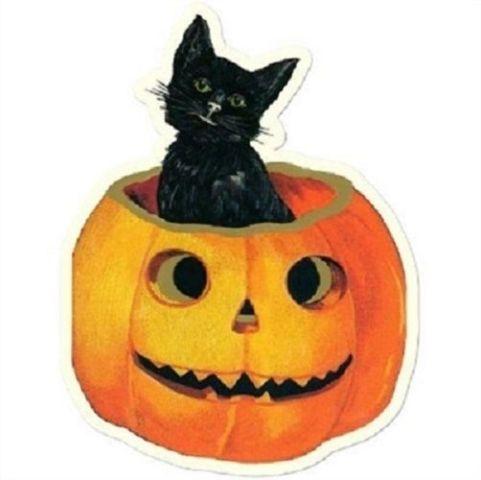 Black Cat In A Pumpkin Halloween Gift Tag Set Of 3 #Shk-2