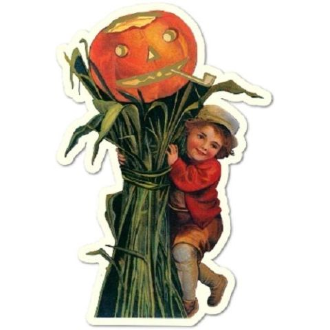 Playful Little Boy With A Pumpkin Scarecrow Halloween Gift Tag Set Of 3 #Shk-4