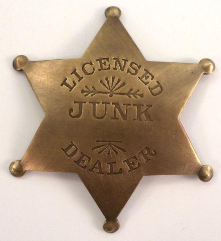 Licensed Junk Dealer Official Solid Brass Badge Pin