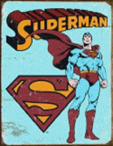 "Superman Retro Standing 12.5"" X 16"" Comic Book Tin Sign Dc Comics #1335"