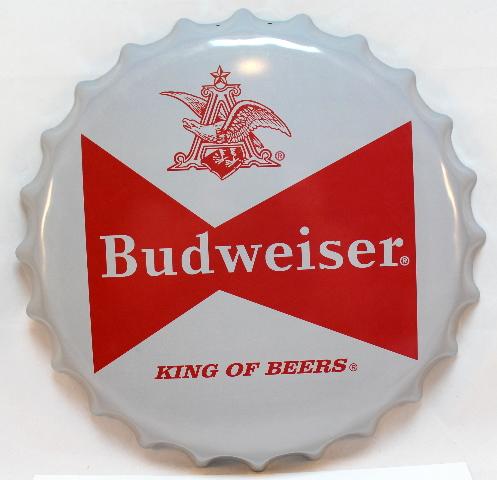 Budweiser Beer Logo Bottlecap Round Metal Sign Pub Game Room Bar Garage