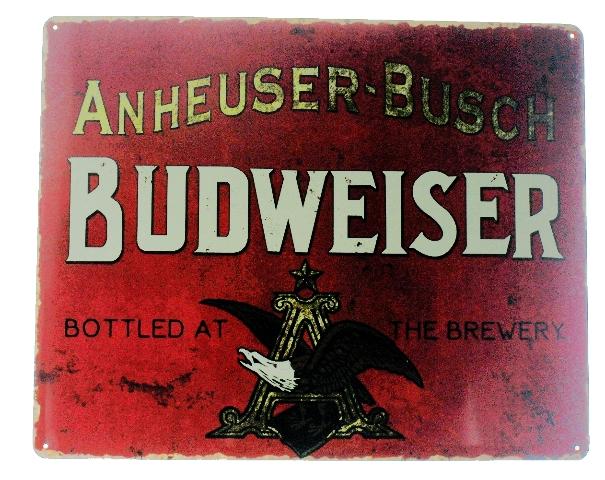 Anheuser Busch Budweiser Metal Sign Pub Game Room Bar