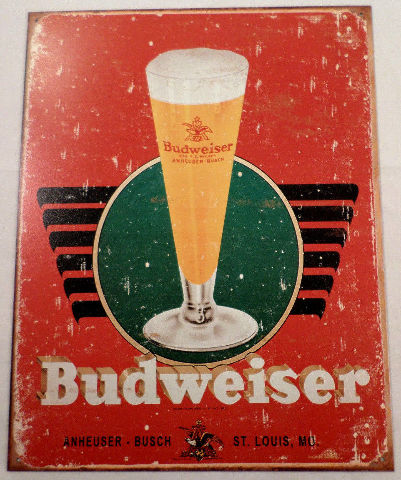 Budweiser Retro Inspired Glass And Logo Tin Sign Man Cave Bar Related #1483