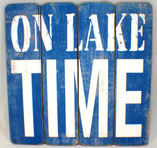 On Lake Time Wooden Plank Sign Home Decor Wall Art