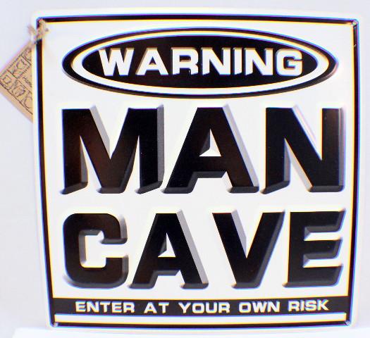 Warning Man Cave Enter At Your Own Risk Black & Wh Metal Bar Garage Sign Decor