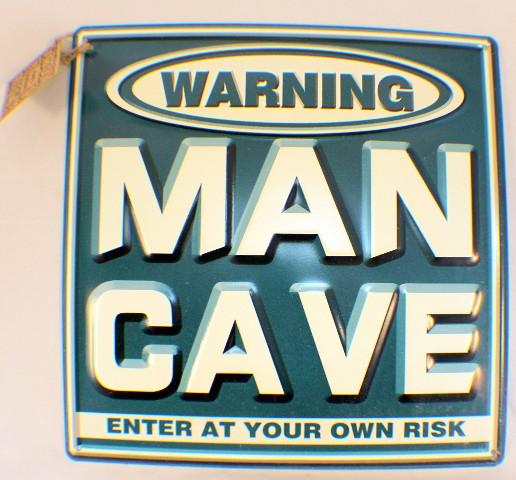 Warning Man Cave Enter At Your Own Risk Metal Bar Garage Sign Decor
