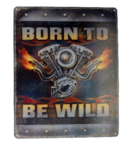 Born to Be Wild  V-Twin Engine Metal Sign Pub Game Room Bar