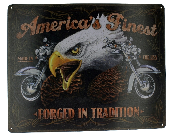 America's Finest Forged in Tradition Eagle Motorcycle Bike  Metal Sign Pub Game Room Bar