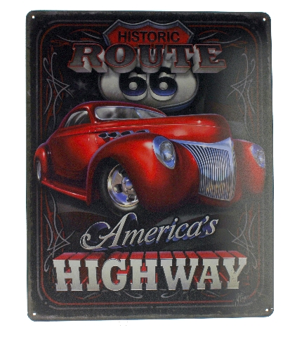 Historic Route 66 America's Highway Metal Sign Pub Game Room Bar