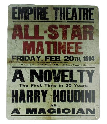 All-Star Matinee Harrry Houdini Magician Empire Theatre Metal Sign Pub Game Room Bar