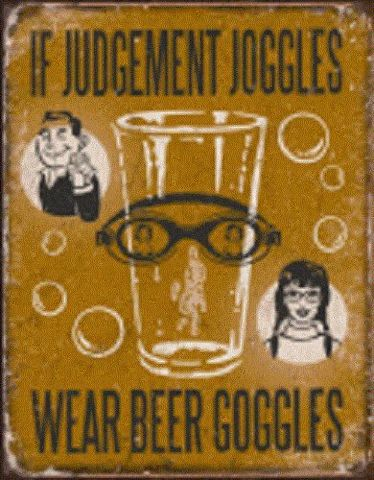 If Judgement Joggles Wear Beer Goggles Fun Tin Sign Wall Art Bar Related  #1828