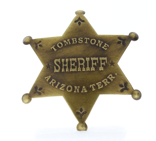 Embossed Tombstone Sheriff Arizona Terr Old Western Replica Pin Back