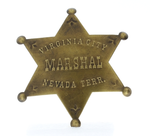 Embossed with Raised Lettering Virginia City Marshal Nevada Solid Brass Badge Pin