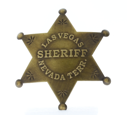 Embossed with Raised Lettering Las Vegas Sheriff Nevada Solid Brass Badge Pin