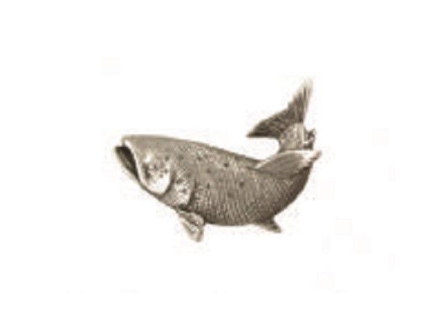A.E. Williams Fine Brittish Pewter Lapel Hat Pin Curled Salmon  #35219