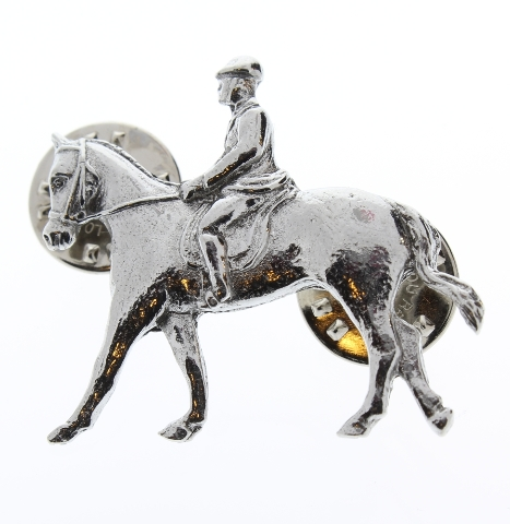 A.E. Williams Fine Brittish Pewter Lapel Hat Pin Equestrian Horse Rider #35261