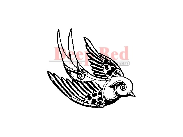 Deep Red Stamps Steampunk Sparrow Rubber Stamp 455128