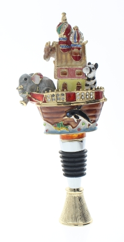 Ciel Jeweled Wine Bottle Stopper Collectible Trinket Box w Stand Noah's Ark