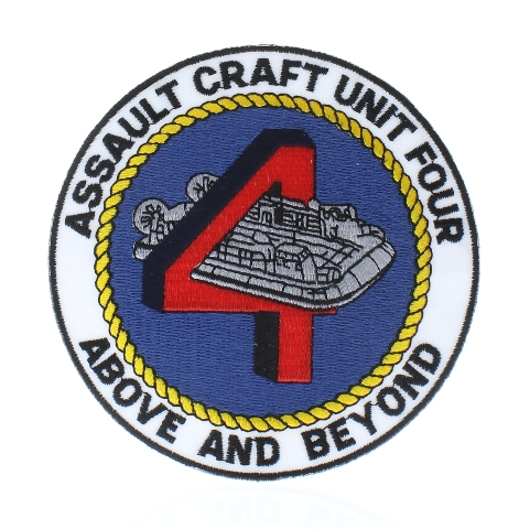 United States Navy Assault Craft Unit Four 4 Above and Beyond Uniform Patch
