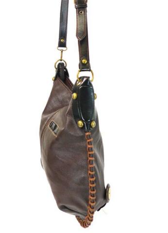 da4438f0bf Chala Purse Handbag Leather Hobo Cross Body Convertible Mermaid Dark Brown
