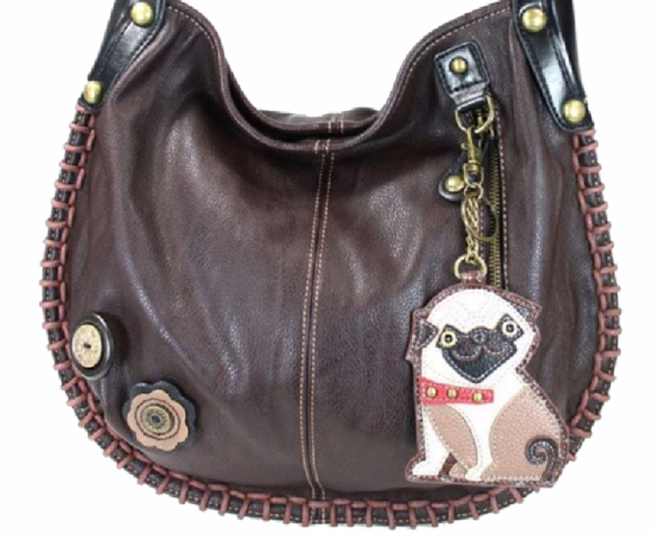 03fce332e3f3 Details about Chala Purse Handbag Hobo Cross Body Convertible Chocolate Pug  Puppy Dog