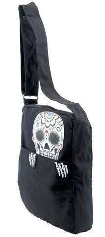 4cc283969 Sleepyville Critters Sugar Skull Man Peeking out of Messenger Cross Body  Handbag