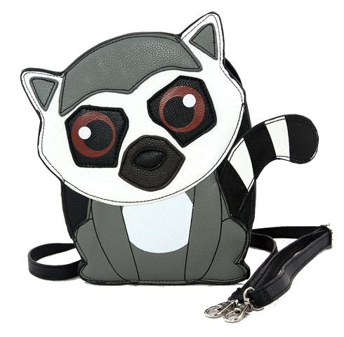 Sleepyville Critters Friendly Lemur  Crossbody Bag in Vinyl Material