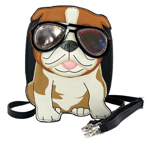 Sleepyville Critters Cool Bulldog with Sunglasses Crossbody Bag in Vinyl Material