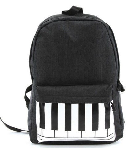Black and White Musical Keyboard Piano Canvas Backpack Satchel Bag