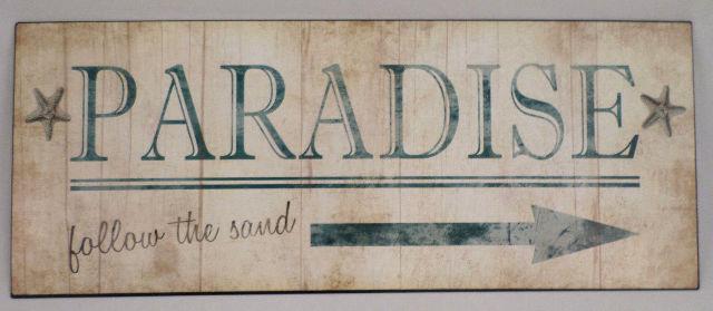 Paradise Follow The Sand This Way Arrow Funny Metal Sign Bar Office