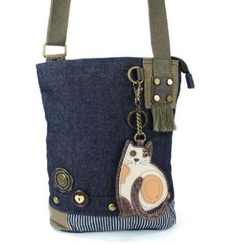 c710e0144 Chala Purse Handbag Denim Canvas Crossbody With Key Chain Tote Kitten Kitty  Cat