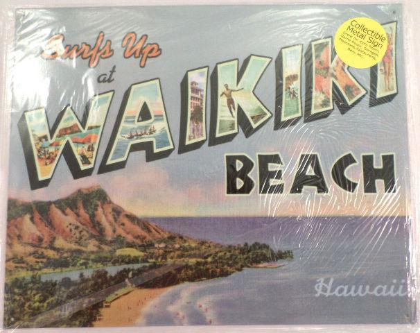 Surf'S Up At Waikiki Beach Hawaii Hi Tropical Funny Metal Sign Pub Game Room Bar