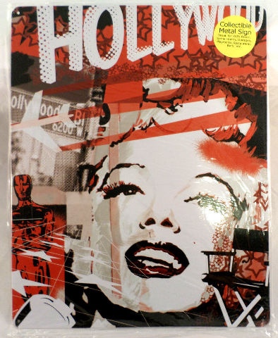 Marilyn Monroe With Collage Background Artistic Metal Sign