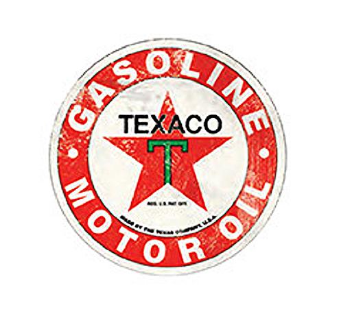 "Texaco Motor Oil Gasoline 12"" Round Metal Sign Pub Game Room Bar Garage"