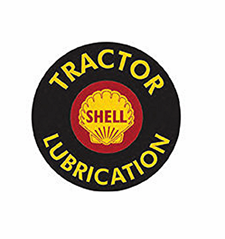 """Shell Tractor Lubrication 12"""" Round Metal Sign Pub Game Room Bar Garage"""
