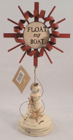 Float My Boat Lake Side Ocean Nautical Decor Painted White Wood Rustic Metal