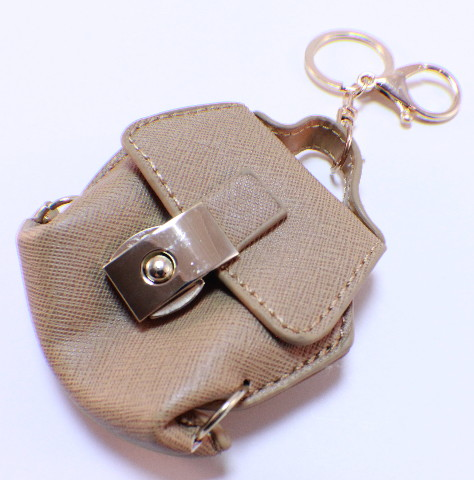 Rhinestone Bling Key Chain Fob Purse Charm Beige Coin Purse Gold Tone