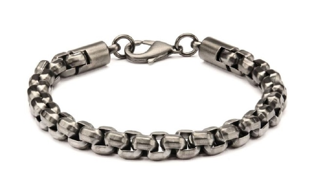 Inox Men's Gun Metal IP Round Box Chain Stainless Steel  Bracelet